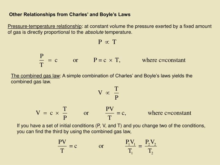 Other Relationships from Charles' and Boyle's Laws