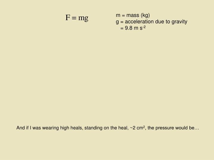 m = mass (kg)