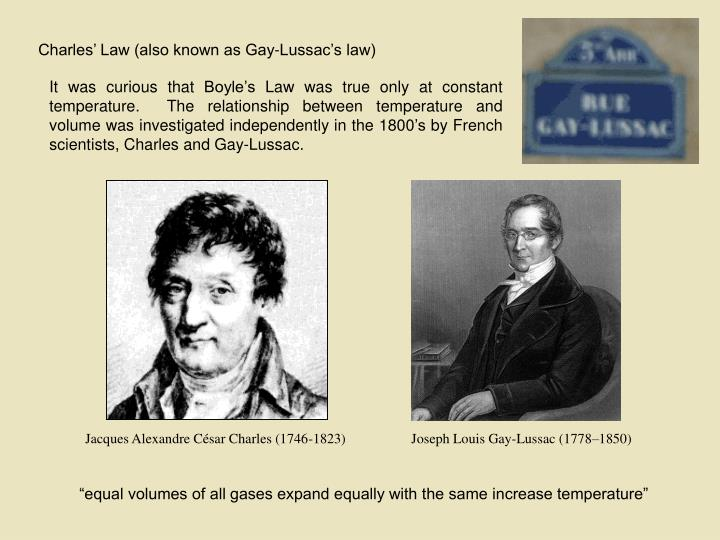 Charles' Law (also known as Gay-Lussac's law)
