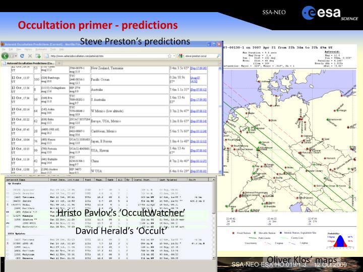 Occultation primer - predictions