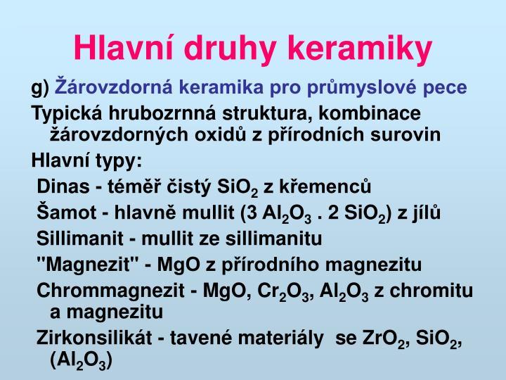 Hlavní druhy keramiky