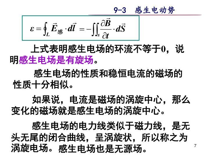 上式表明感生电场的环流不等于