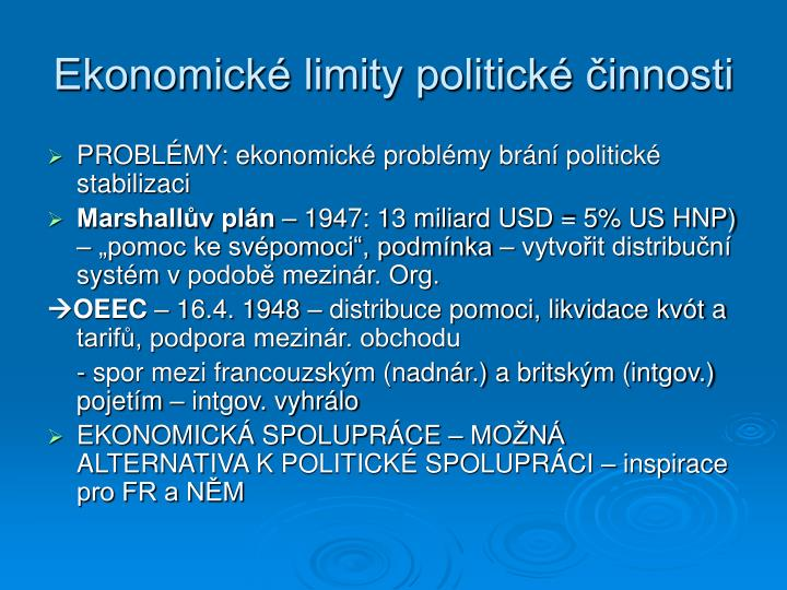 Ekonomické limity politické činnosti