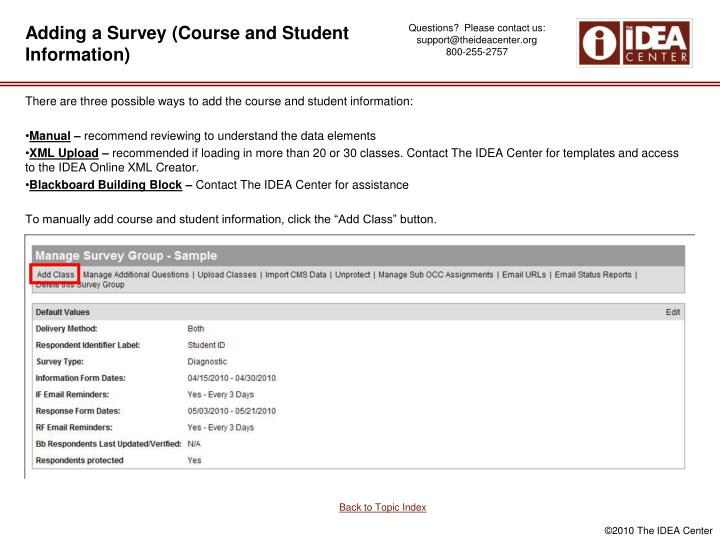 Adding a Survey (Course and Student Information)