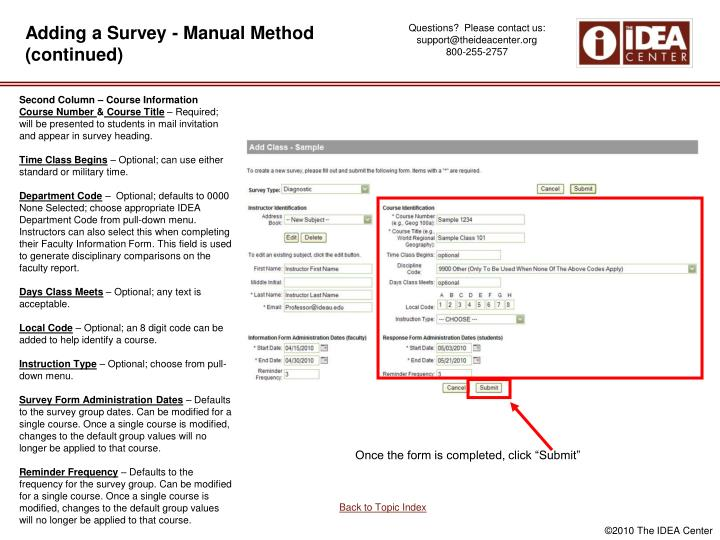 Adding a Survey - Manual Method (continued)