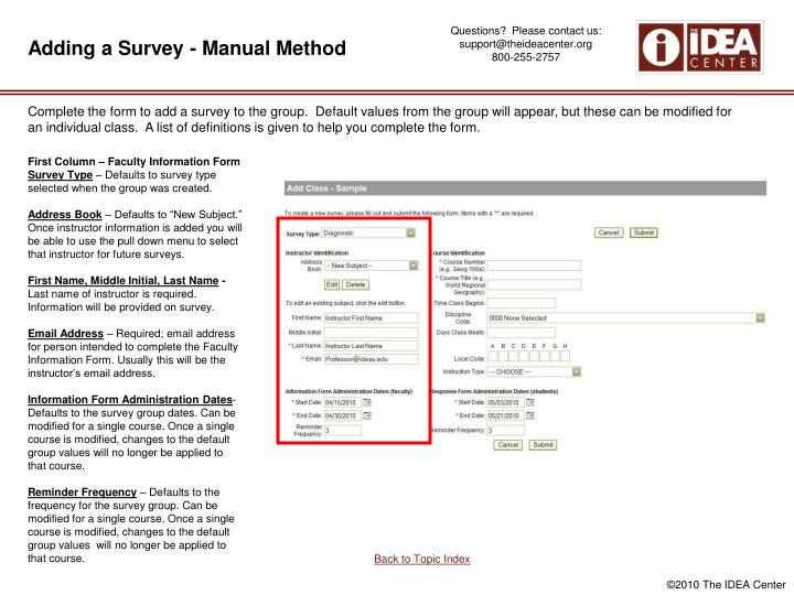 Adding a Survey - Manual Method