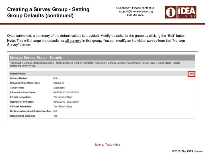Creating a Survey Group - Setting Group Defaults (continued)