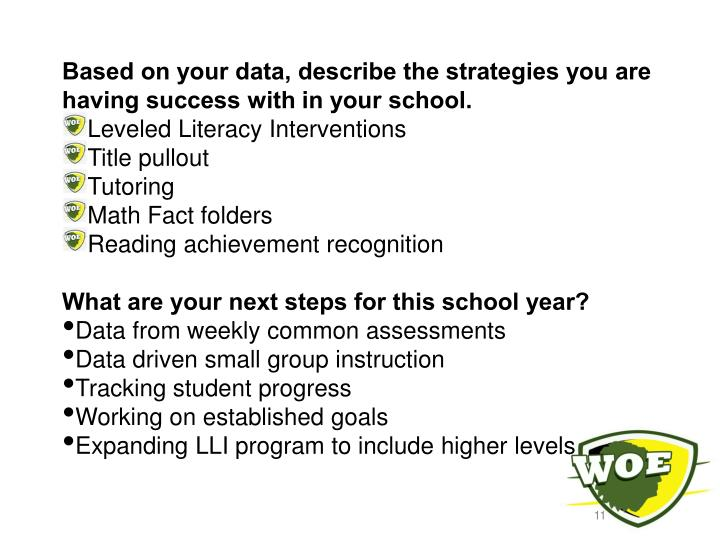Based on your data, describe the strategies you are having success with in your school.