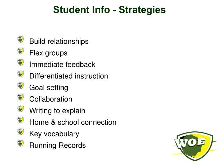 Student Info - Strategies