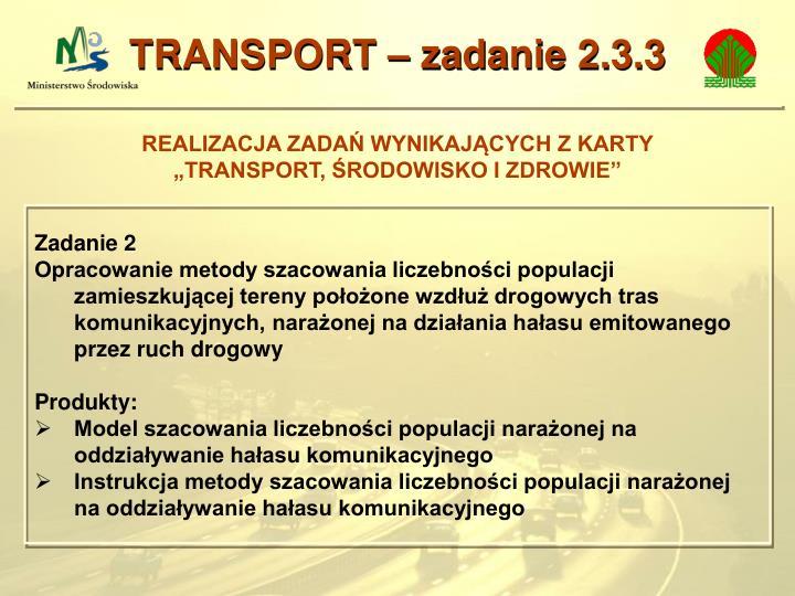 TRANSPORT – zadanie 2.3.3
