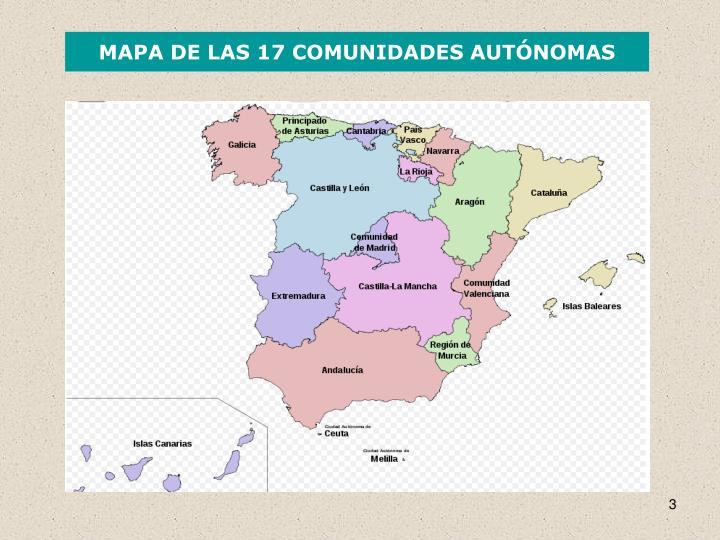 MAPA DE LAS 17 COMUNIDADES AUTÓNOMAS