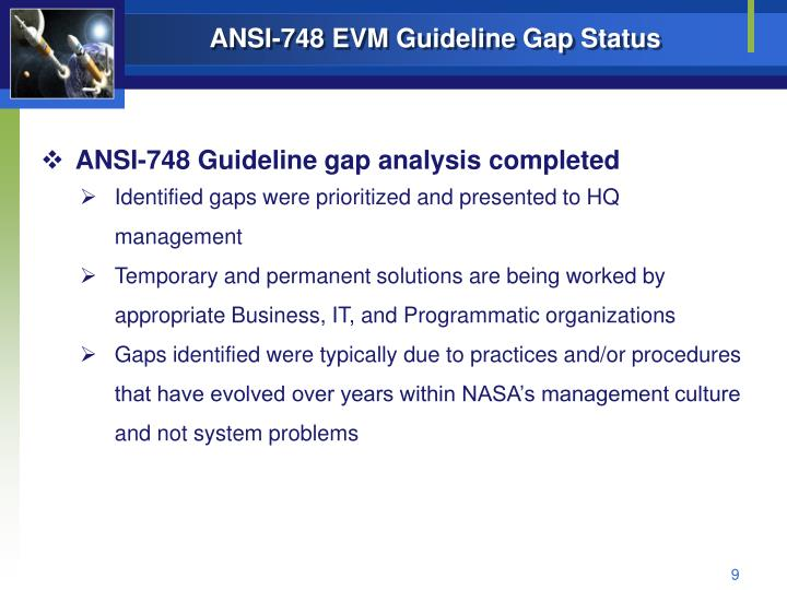 ANSI-748 EVM Guideline Gap Status