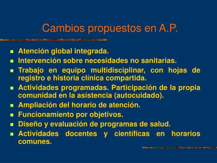 Cambios propuestos en A.P.