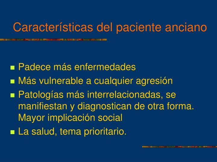 Características del paciente anciano