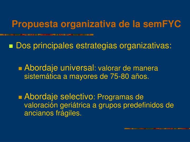 Propuesta organizativa de la semFYC
