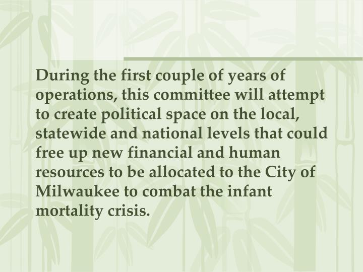 During the first couple of years of operations, this committee will attempt to create political space on the local, statewide and national levels that could free up new financial and human resources to be allocated to the City of Milwaukee to combat the infant mortality crisis.