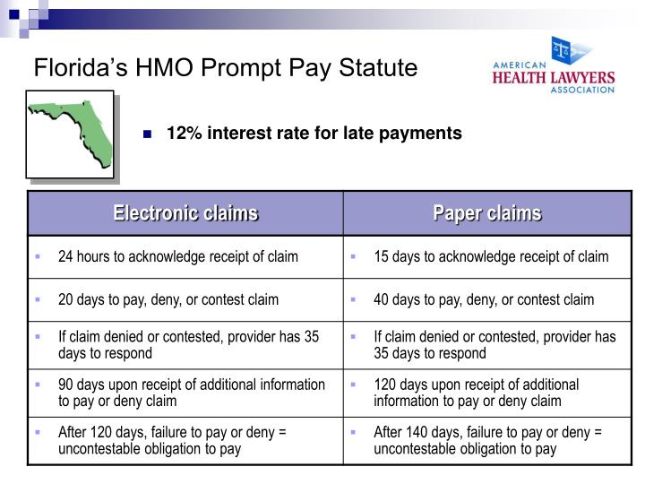 Florida's HMO Prompt Pay Statute