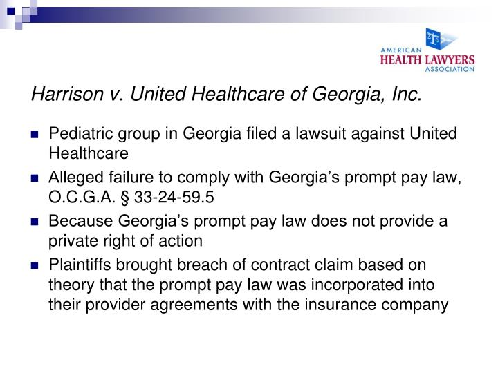 Harrison v. United Healthcare of Georgia, Inc.