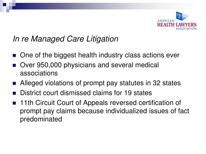 In re Managed Care Litigation