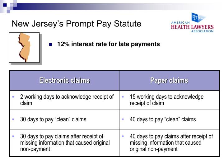 New Jersey's Prompt Pay Statute