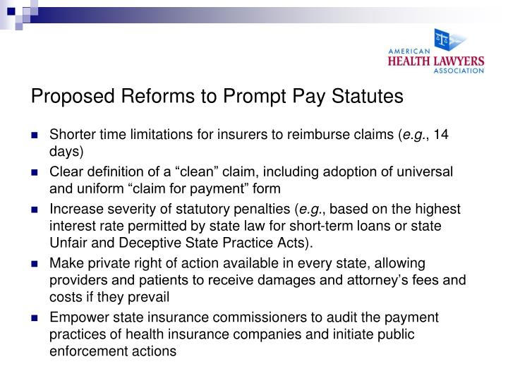 Proposed Reforms to Prompt Pay Statutes