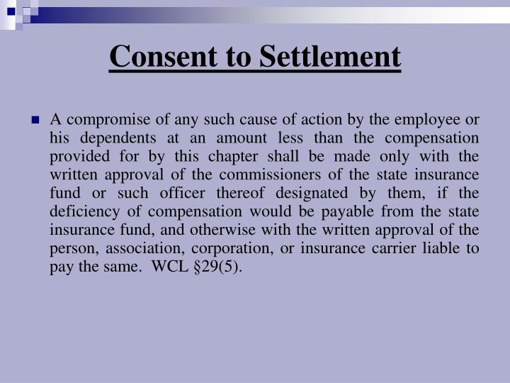 Consent to Settlement