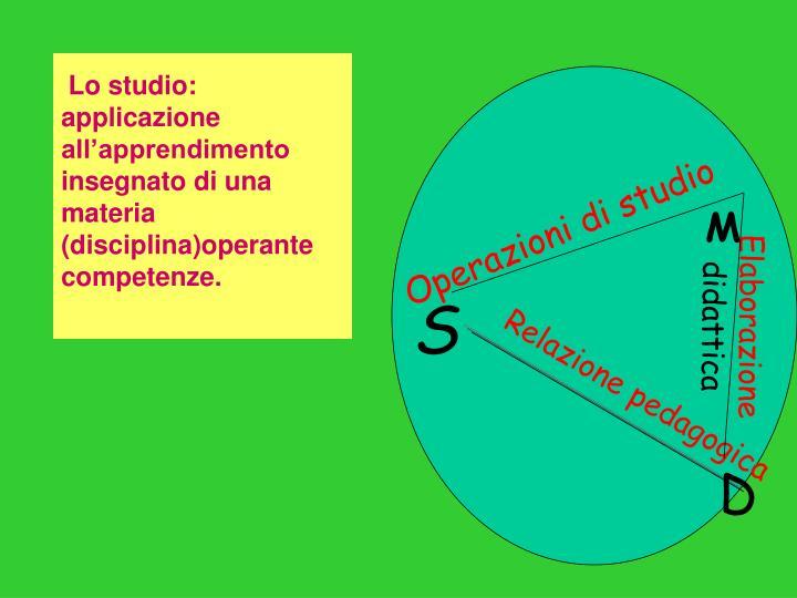 Lo studio: applicazione all'apprendimento insegnato di una materia (disciplina)operante competenze.