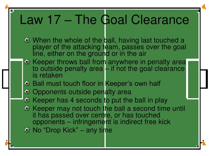 Law 17 – The Goal Clearance