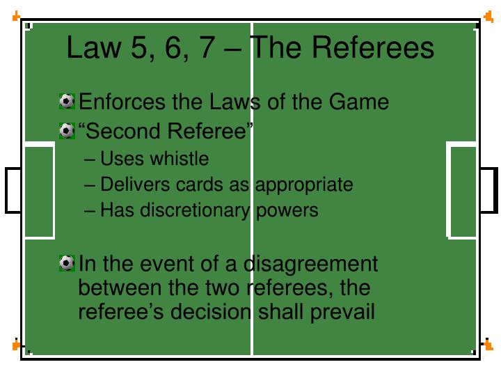 Law 5, 6, 7 – The Referees