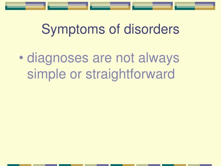 Symptoms of disorders