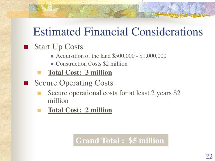 Estimated Financial Considerations
