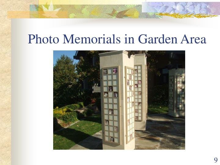 Photo Memorials in Garden Area