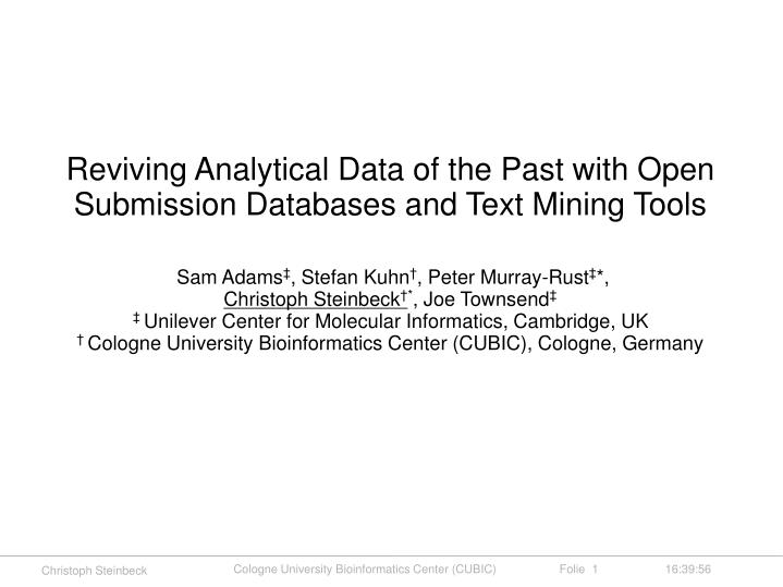 Reviving Analytical Data of the Past with Open Submission Databases and Text Mining Tools