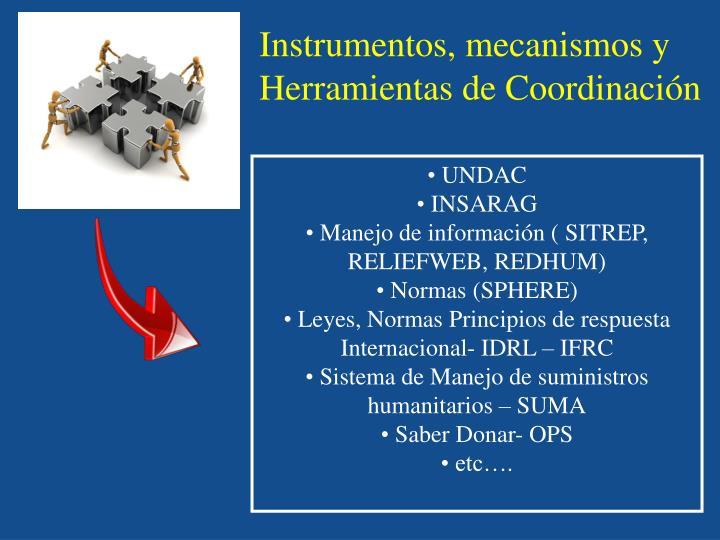 Instrumentos, mecanismos y Herramientas de Coordinación