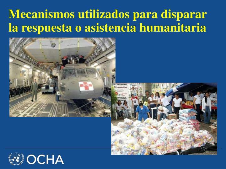 Mecanismos utilizados para disparar la respuesta o asistencia humanitaria