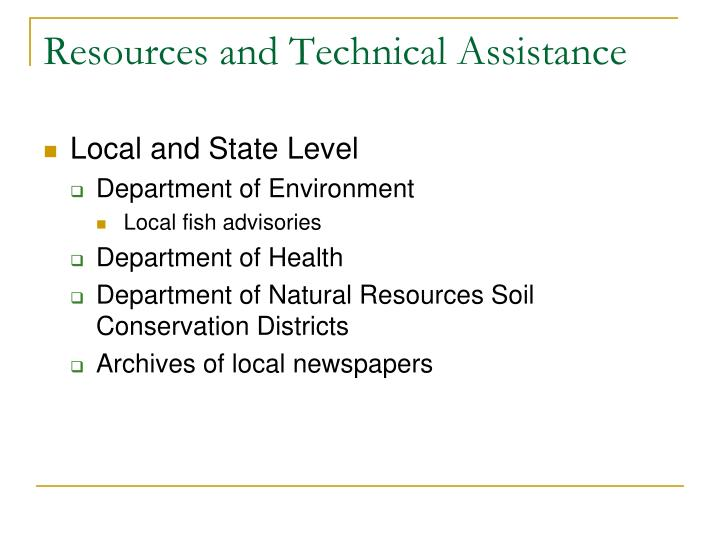 Resources and Technical Assistance