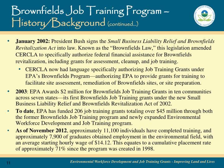 Brownfields Job Training Program –