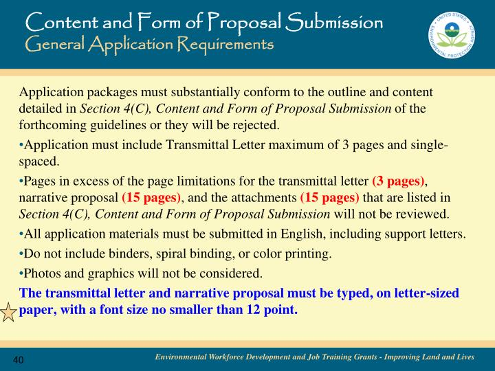 Content and Form of Proposal Submission