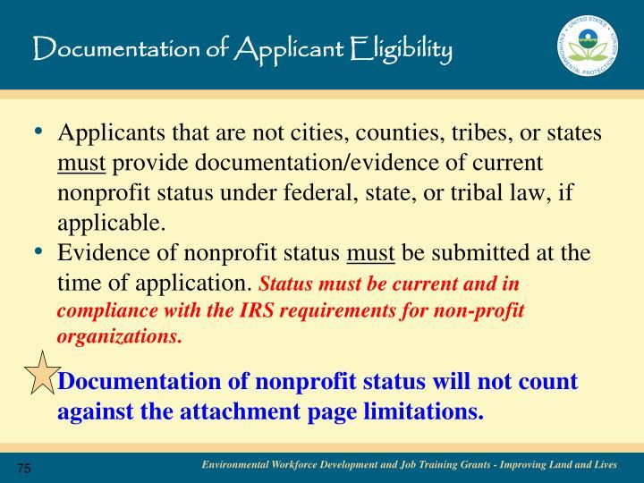 Documentation of Applicant Eligibility