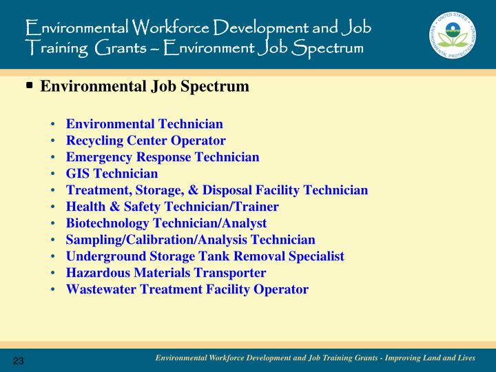 Environmental Workforce Development and Job Training  Grants – Environment Job Spectrum