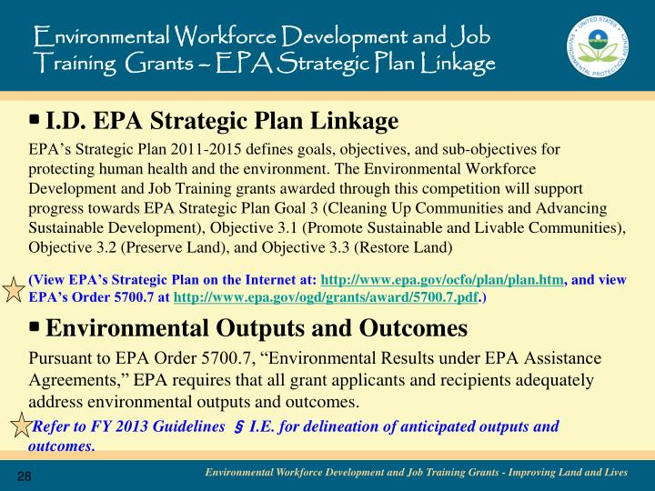 Environmental Workforce Development and Job Training  Grants – EPA Strategic Plan Linkage