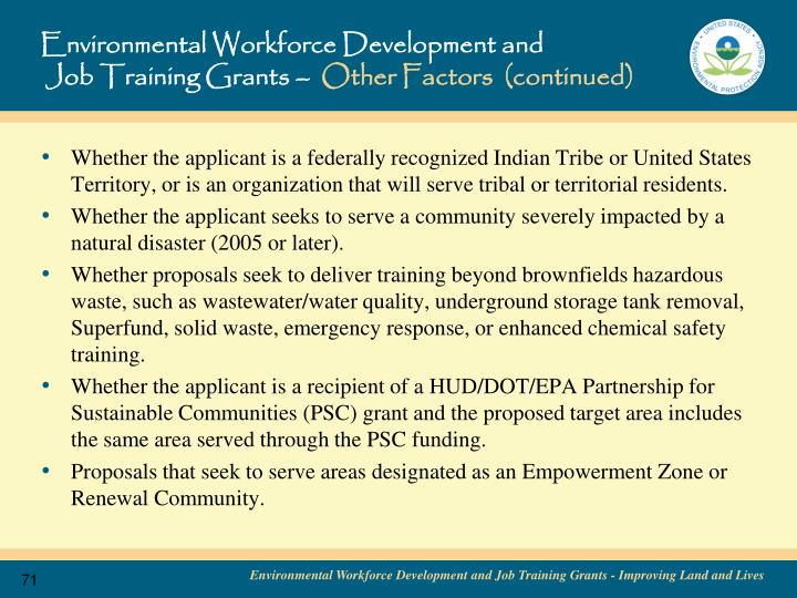 Environmental Workforce Development and