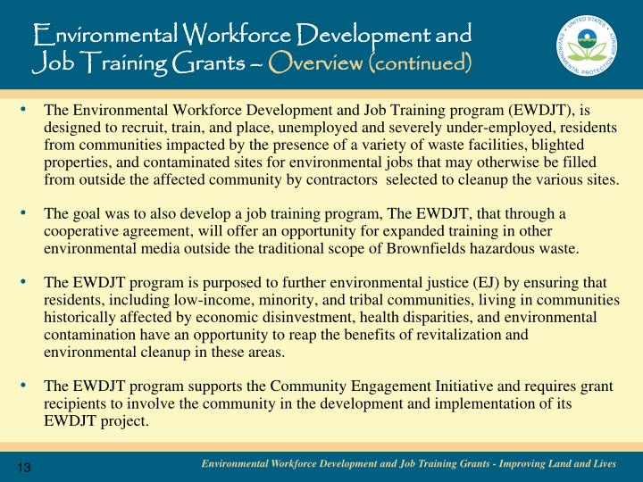 Environmental Workforce Development and Job Training Grants –