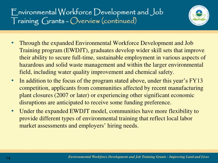 Environmental Workforce Development and Job Training  Grants -