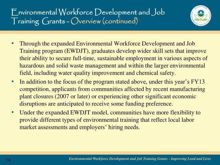 Environmental Workforce Development and Job Training  Grants -