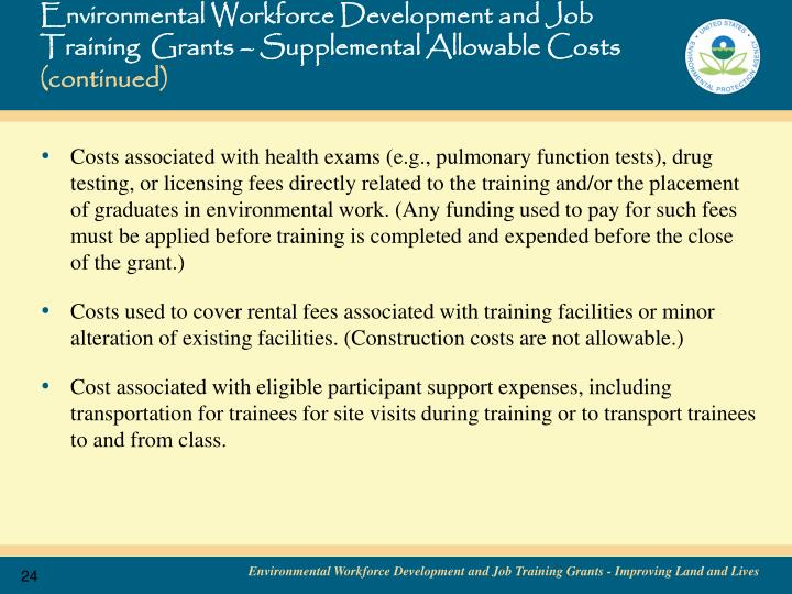 Environmental Workforce Development and Job Training  Grants – Supplemental Allowable Costs