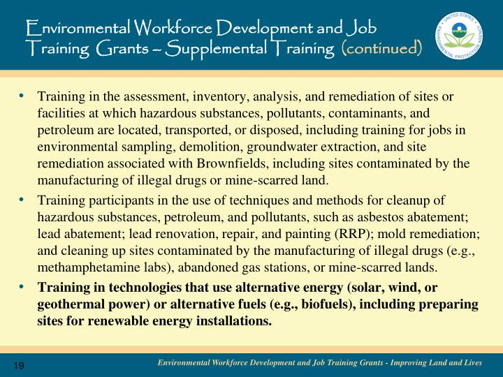 Environmental Workforce Development and Job Training  Grants – Supplemental Training