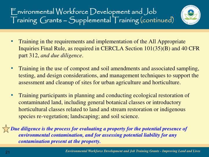 Environmental Workforce Development and Job Training  Grants – Supplemental Training