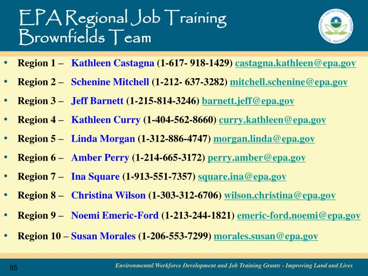 EPA Regional Job Training Brownfields Team