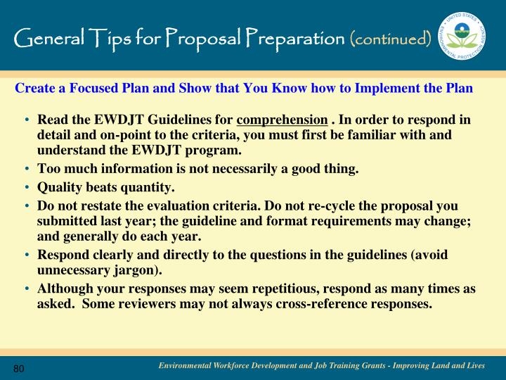General Tips for Proposal Preparation